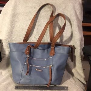 Rosetti blue and tan tote